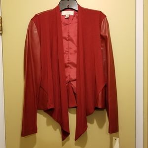 Bagatelle Red Drape Front Faux Leather Jacket